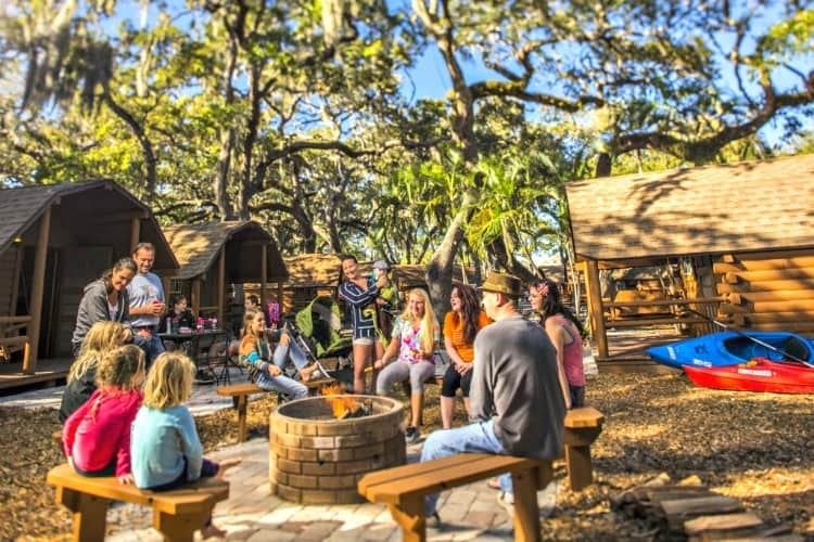 activity around campfire at koa campground