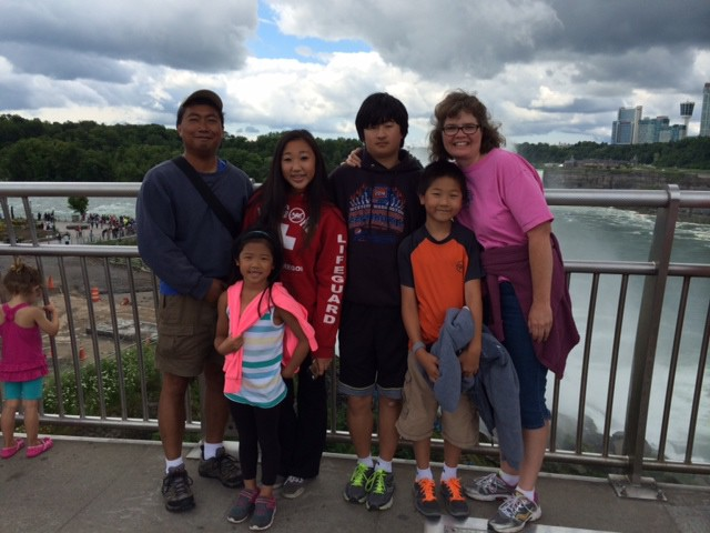 Carol with her family at Niagara Falls