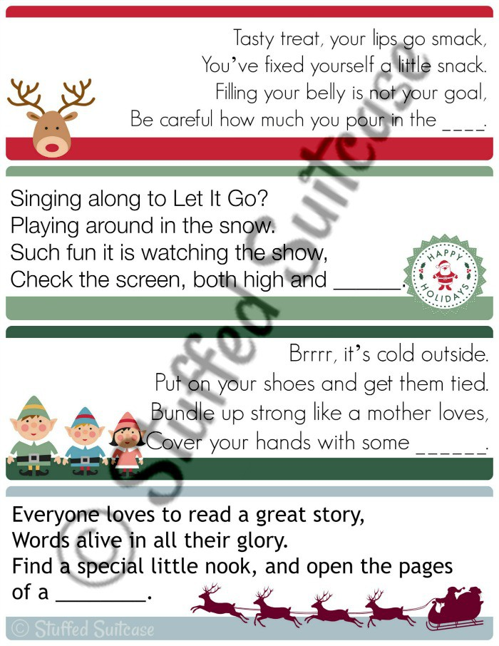 Christmas Scavenger Hunt Clues for leading your kids on a fun hunt for their gift(s) on Christmas morning. StuffedSuitcase.com
