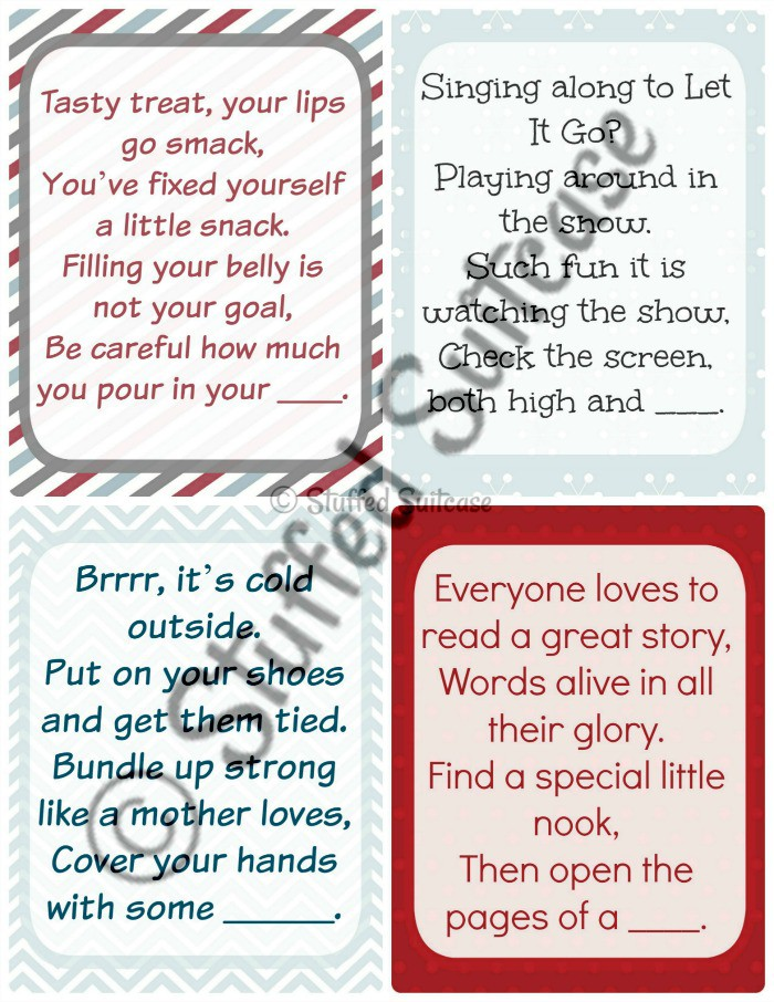 Fun clues to lead your kids on a Christmas Scavenger Hunt on Christmas morning as they search for their gifts. Great family tradition! StuffedSuitcase.com