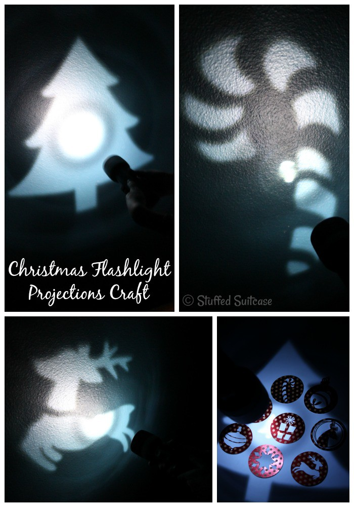 Fun projections for Christmas you can DIY with a flashlight and cutting machine. StuffedSuitcase.com