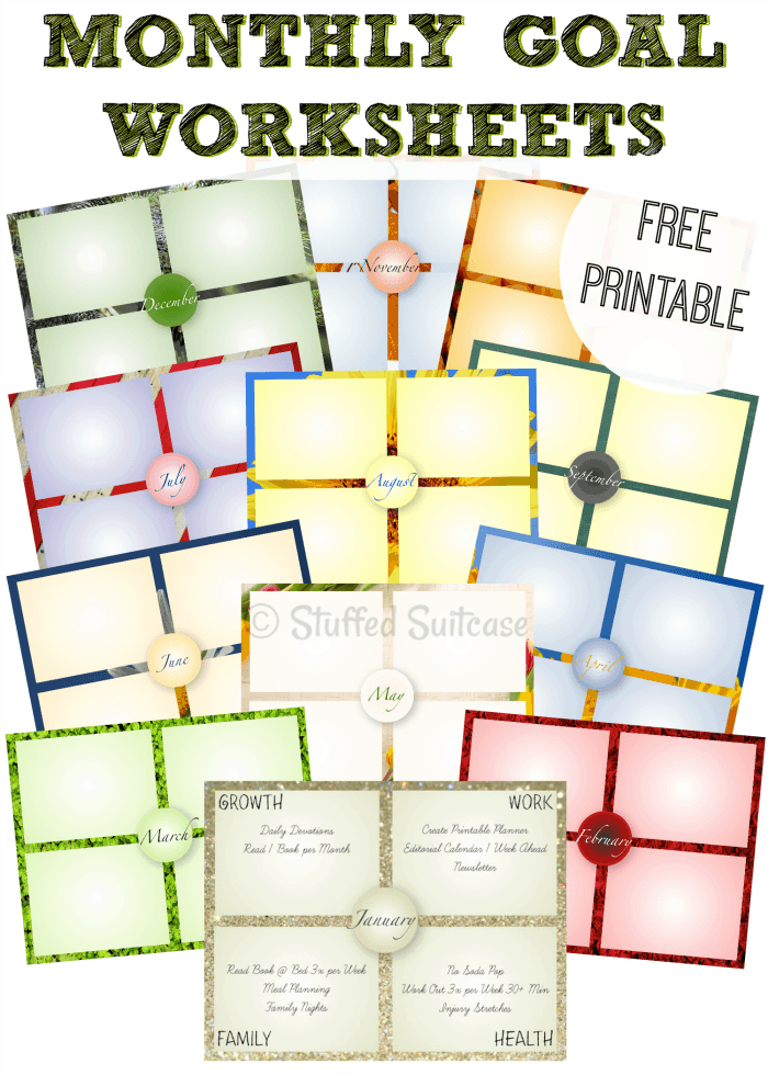 One Year of Monthly Goal Setting Worksheet Printables – Setting Worksheet