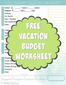 Planning to take a trip and what to know the average vacation cost? Use this travel budget vacation cost worksheet to estimate what you should save for your trip. StuffedSuitcase.com