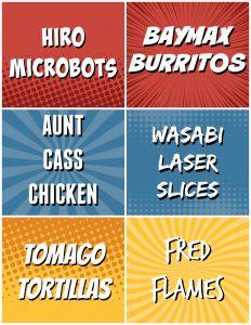 Big-Hero-6-Dinner-Menu-Food-Signs