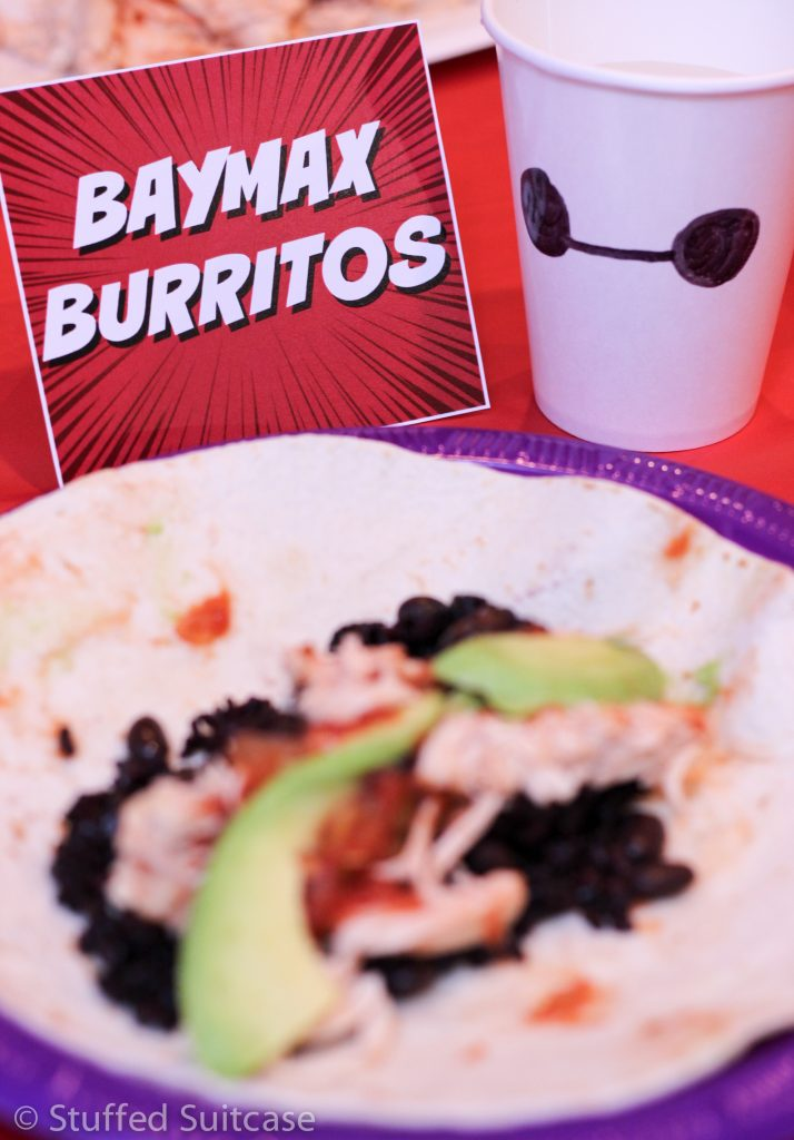 Plan a menu of Baymax Burritos for a fun family dinner meal based on the Big Hero 6 movie characters. StuffedSuitcase.com