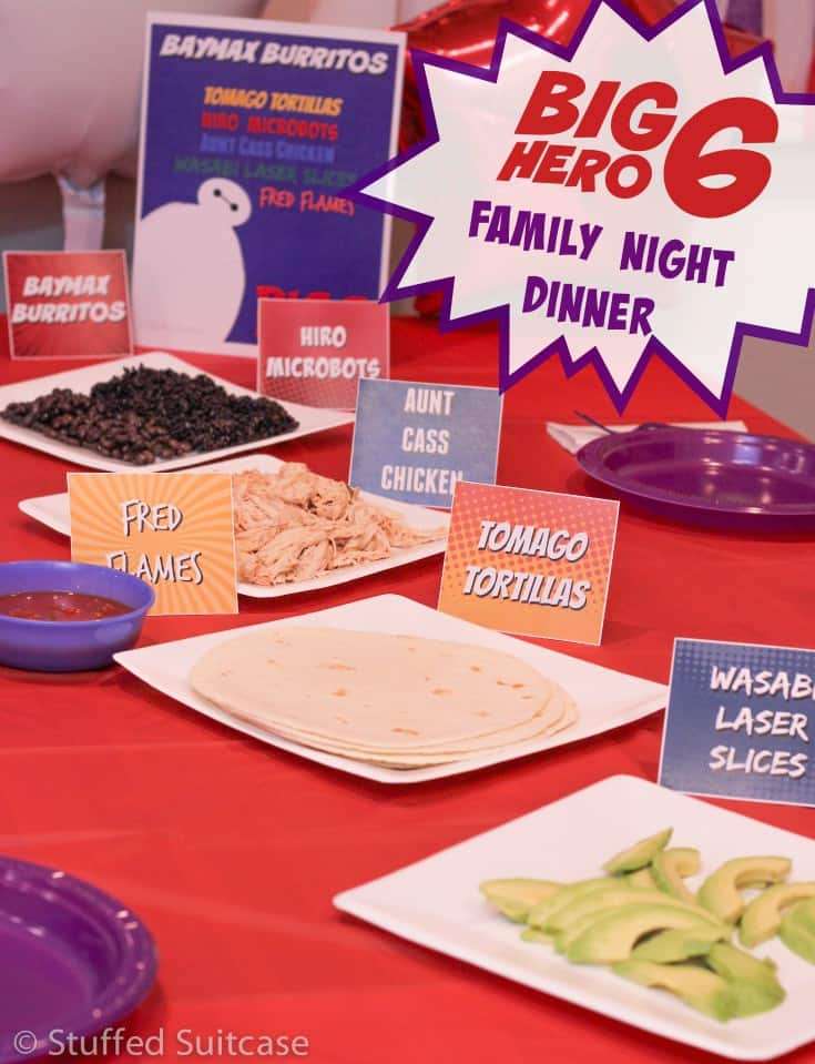 Planning to watch Big Hero 6 as a family? Here's a fun family meal that is perfect for celebrating this fun Disney movie. Includes free printables and custom menu designed around the movie characters. StuffedSuitcase.com