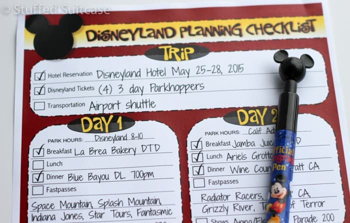 Free Printable Disneyland Checklist