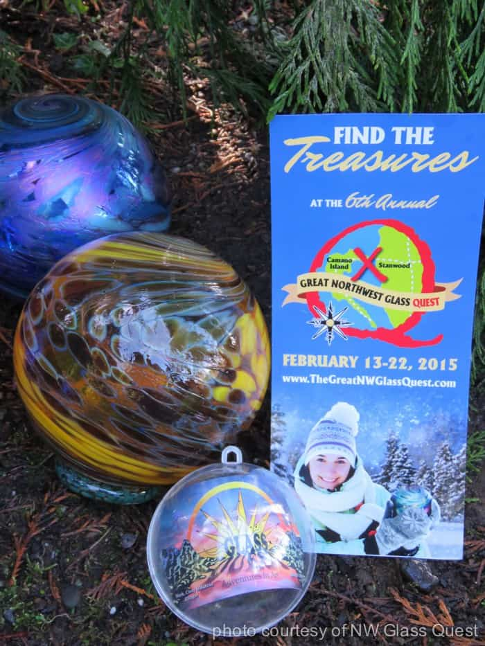 Participate in the treasure hunt in Stanwood and Camano Island Washington for a chance to find one of these limited edition handblown glass treasure art piece
