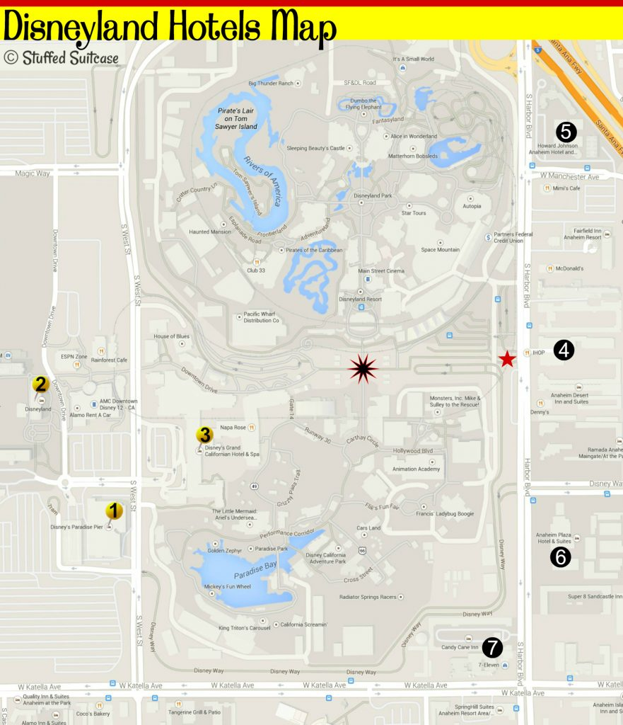 Planning a trip to Disneyland and wondering where to stay? Use this map of hotels by Disneyland to help you with your Disney vacation planning! StuffedSuitcase.com