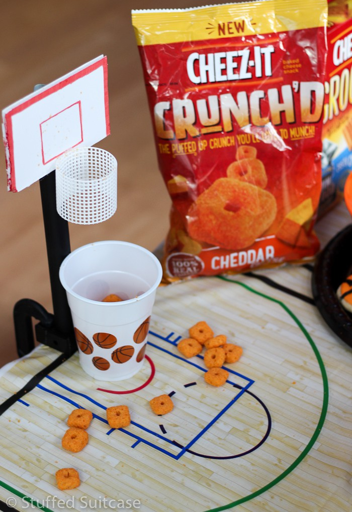 Cheez-It Crunch'd is the perfect game snack for shooting hoops on a DIY tabletop basketball game