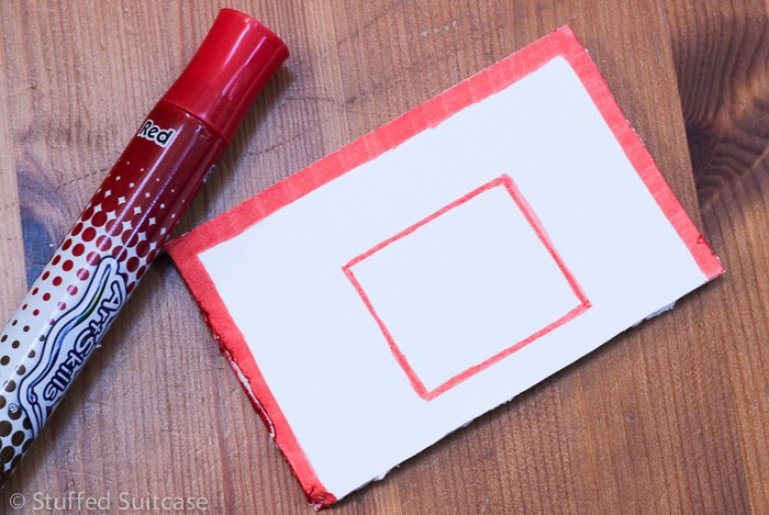 """Cut 3"""" x 5"""" piece of foam board and draw red edging"""