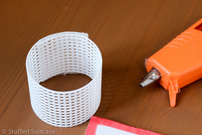"""Use hot glue to create circle hoop about 2"""" in diameter"""