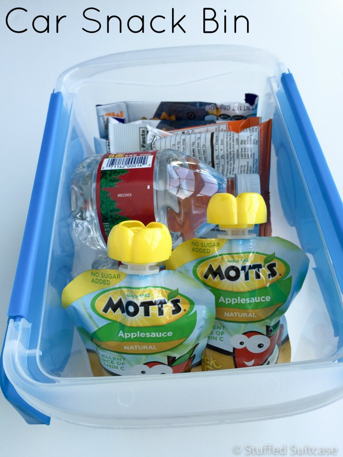 Stock some of your favorite snacks in a car snack bin to help keep kids from getting fussy while running errands