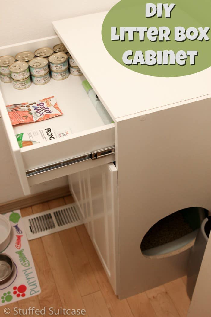 Hereu0027s how to make a DIY litter box furniture cabinet for your cats to help keep & DIY Litter Box Furniture Cabinet u0026 Laundry Room Cleanup