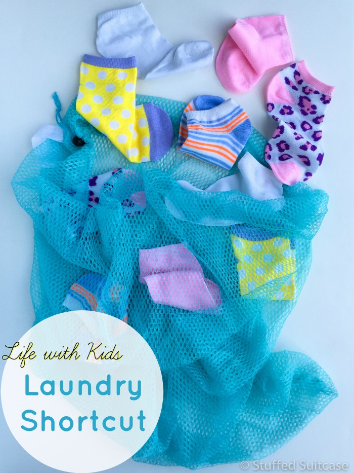 Here's a huge parenting shortcut that will save you time on laundry. Give each kid a mesh laundry bag to put dirty socks & underwear into - then toss the bag into the washer & dryer. No more mixing up sorting each kid's clothes!