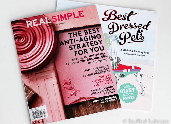 Reading material for you, REAL SIMPLE magazine, and fun activity book for kids!
