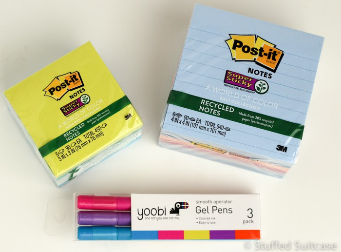 Don't Forget! Jot down all your travel prep and planning notes on these new World of Color Post-It Notes with these colorful yoobi gel pens.