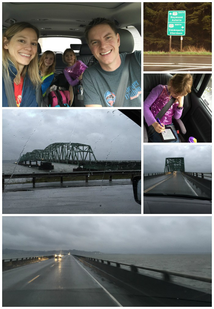 Driving to Astoria, Oregon - Faith reading her Kindle, and crossing from WA into OR via the Astoria-Megler Bridge