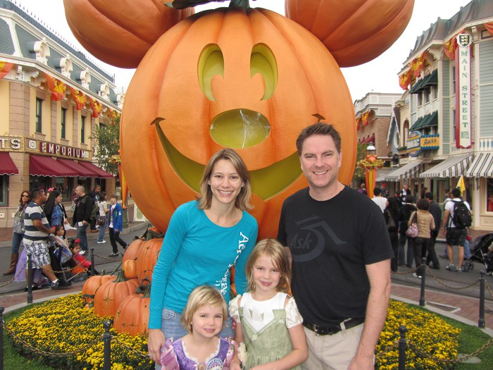 family photo at disneyland in october