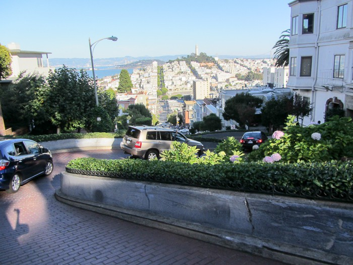 Heading down Lombard Street...along with all the other tourists.