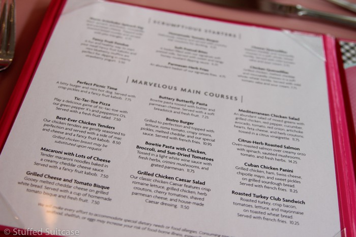 Great menu options at the American Girl Bistro