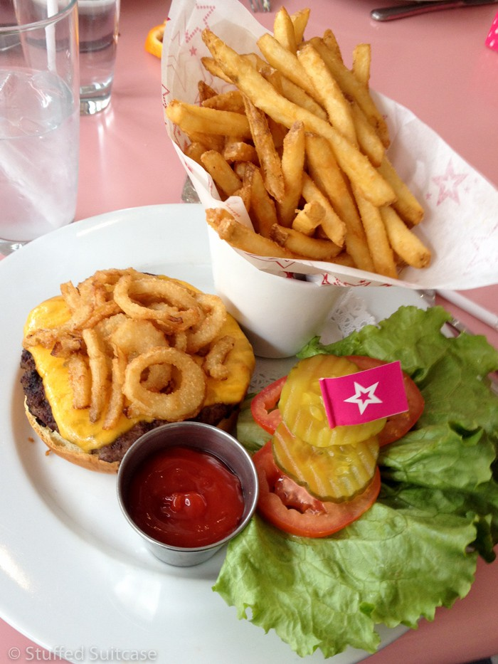 Delicious burger from the American Girl Bistro