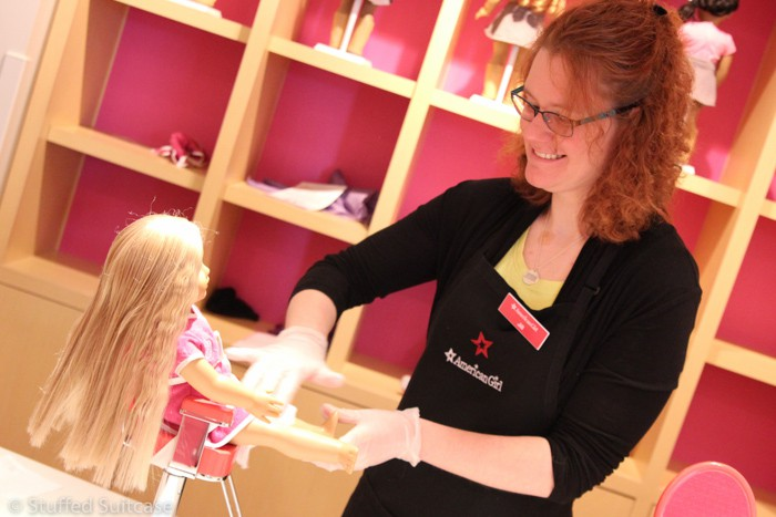 Pampering Julie at the American Girl Seattle Doll Hair Salon