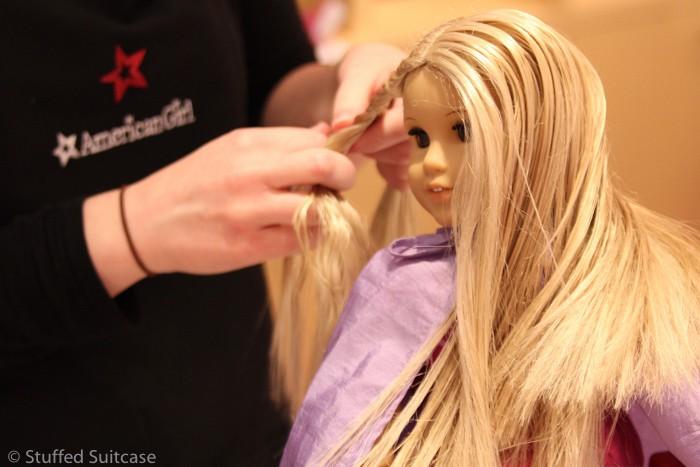 Julie getting a braid at the AG Doll Hair Salon