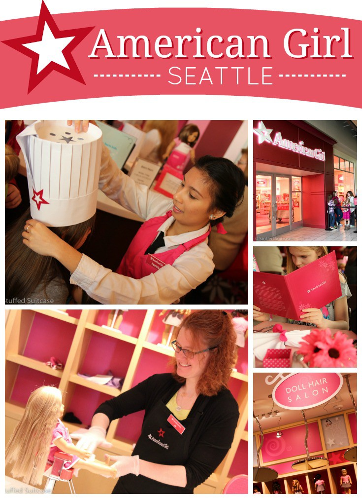 Spend the day at an American Girl store where you can shop, visit the Doll Hair Salon, and dine in the Bistro. Our fun family day at the Seattle American Girl store.