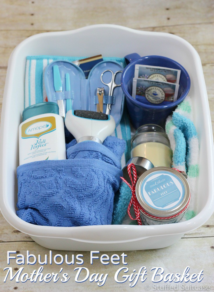 Put together this Fabulous Feet gift basket for your mom as a great Mother's Day gift idea