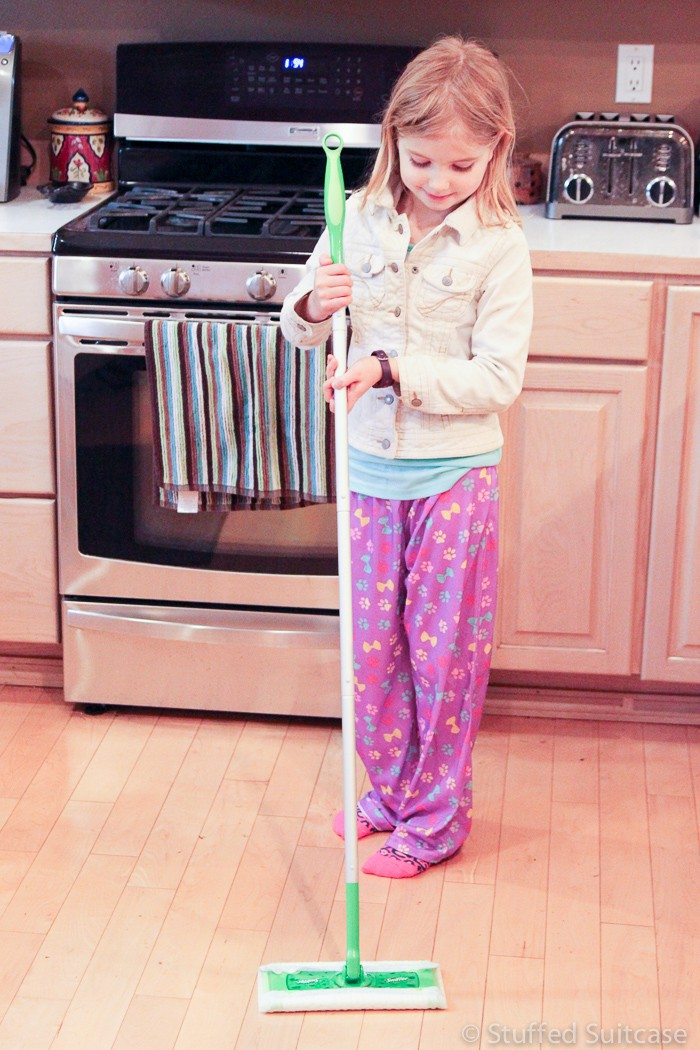 The Swiffer Sweeper is an easy way to have kids help sweep the floors!