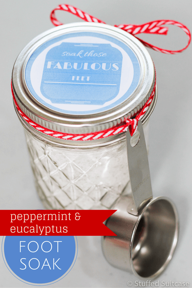 Make this DIY peppermint & eucalyptus foot soak to deoderize and pamper tired feet. Makes a great addition to gift baskets. Includes free printable tag!
