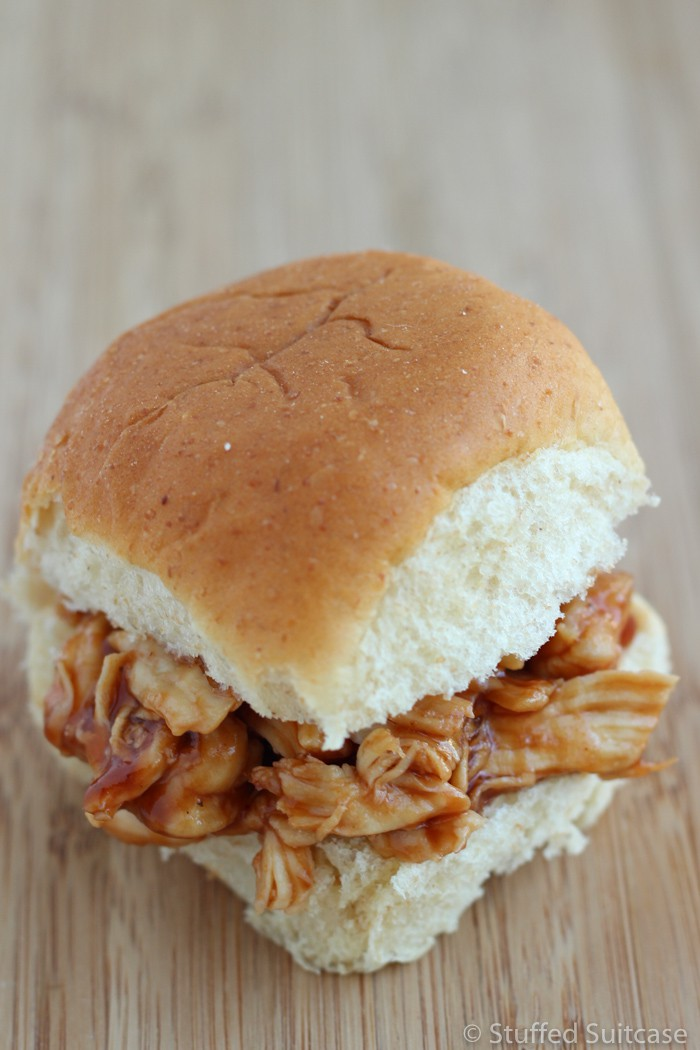 Super quick and easy - these BBQ chicken sliders work great for leftover chicken