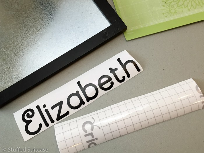 Transfer the cut vinyl lettering onto Cricut transfer tape to apply to project