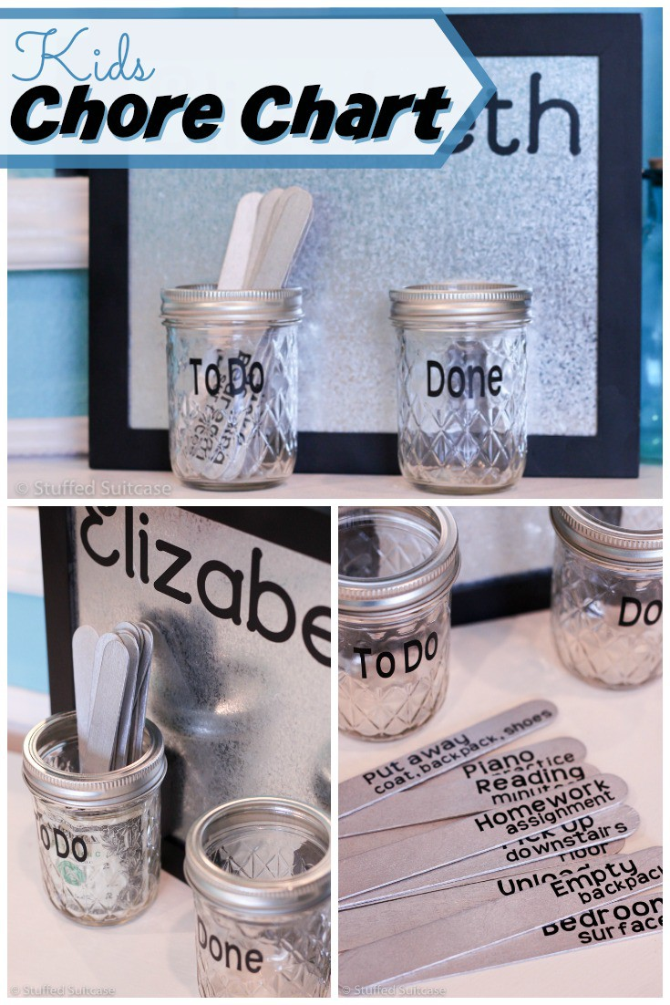 Create this fun and modern kids chore chart from mason jars and popsicle sticks - great way to manage kids' daily chores and reward them for finishing! StuffedSuitcase.com