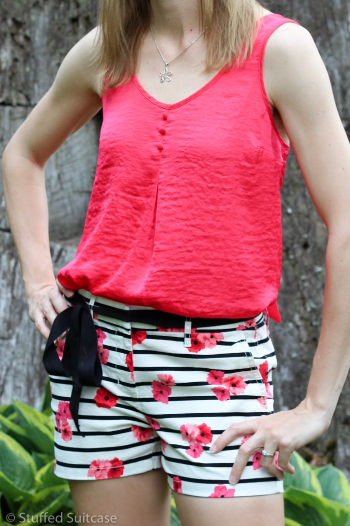 Candie's Bow Back Tank in Candy Apple Red with ELLE™ Print Chino Shorts in Floral Stripe from Kohl's