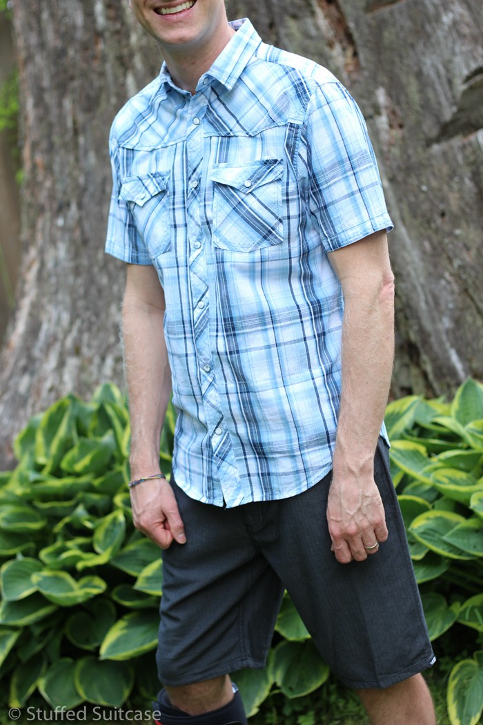 Helix plaid western button shirt with Vans Keyston black shorts from Kohl's
