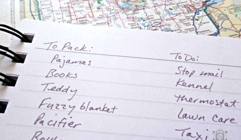 making to-do and packing lists before travel
