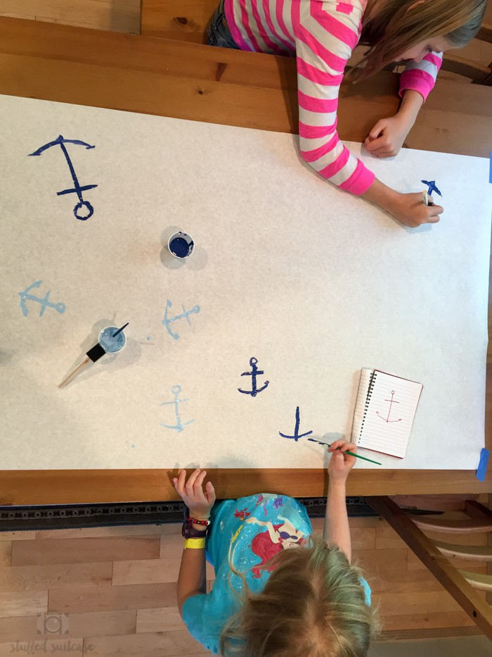 Creating our anchor themed wrapping paper for Father's Day gift
