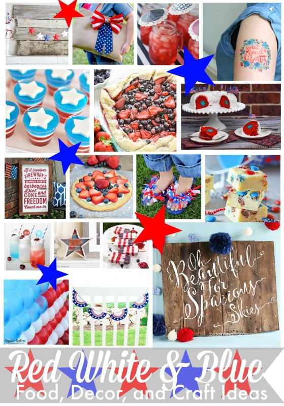 Red, White, and Blue Ideas for celebrating the 4th of July! Great ideas for decor, food, crafts, and fun all to help you celebrate and party for Independence Day!