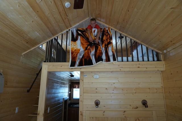 Inside a KOA deluxe cabin