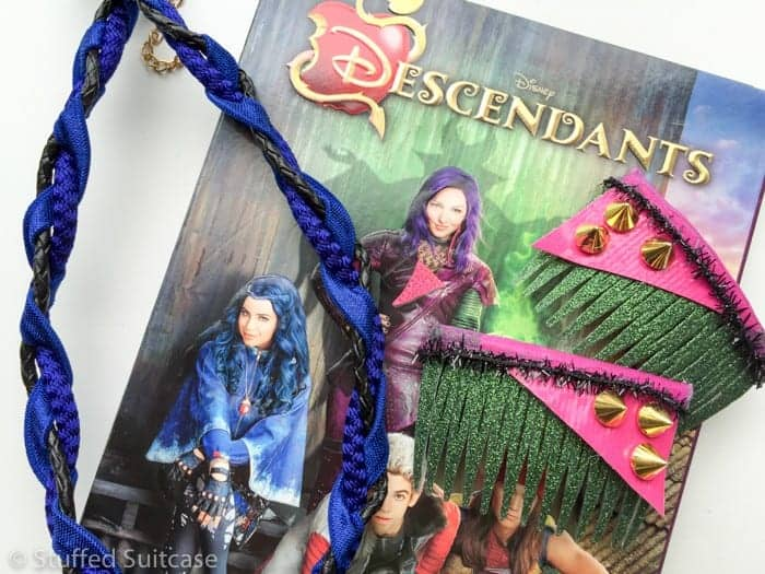 Hair accessories for Mal and Evie characters from Descendants Disney Channel movie.
