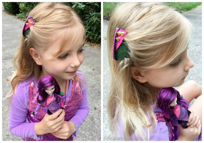 Make these DIY hair comb accessories to go along with Descendants movie Mal character doll!