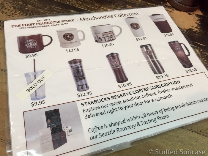 Special merchandise you can only buy at the original Starbucks Seattle store.