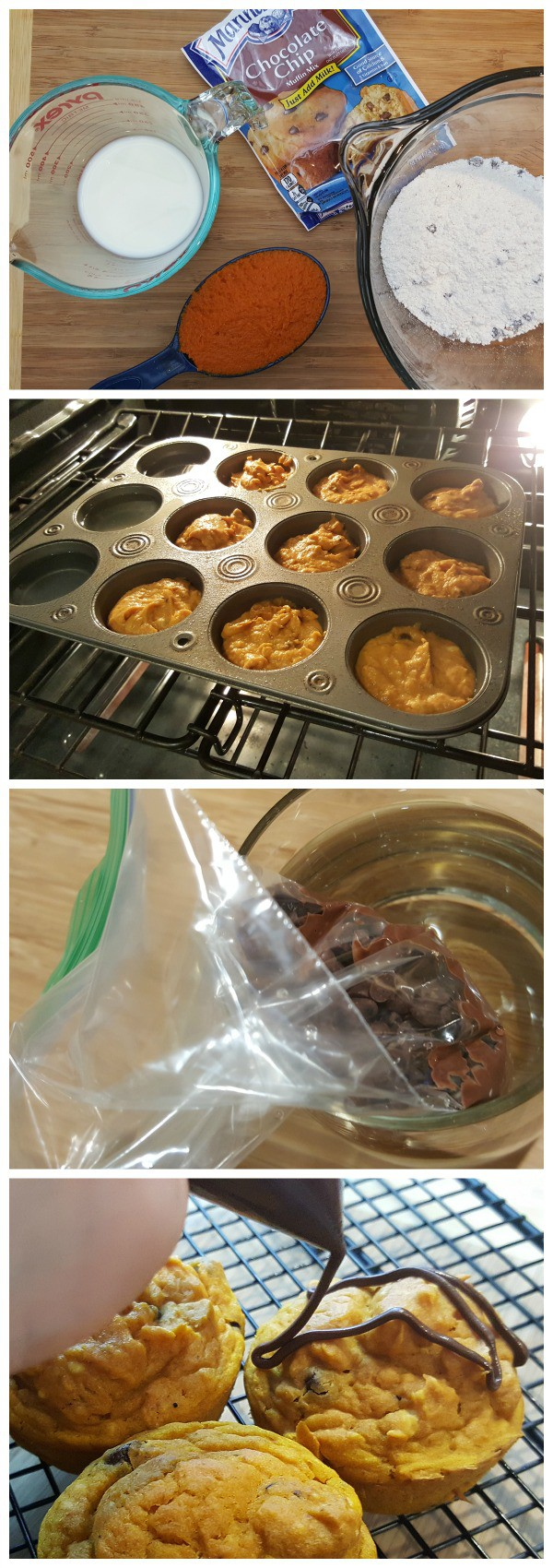 steps for baking pumpkin chocolate chip muffins with chocolate drizzle