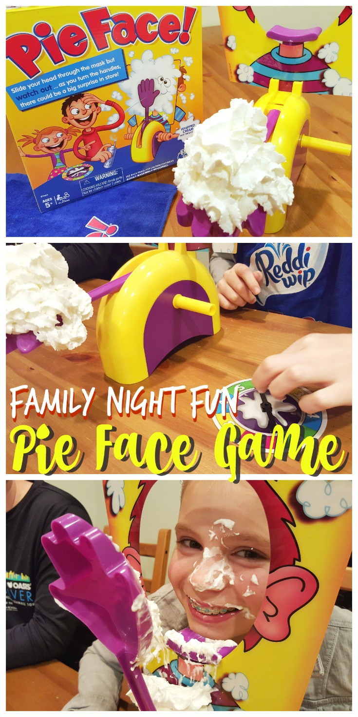 Looking for a fun new game for Family Game Night? Check out the fun our family had testing our luck with whipped cream and Pie Face! Spin the wheel, turn the handles, will you get a Pie Face or will you be safe?! This game is a great gift idea for birthdays, Christmas, or the holidays!