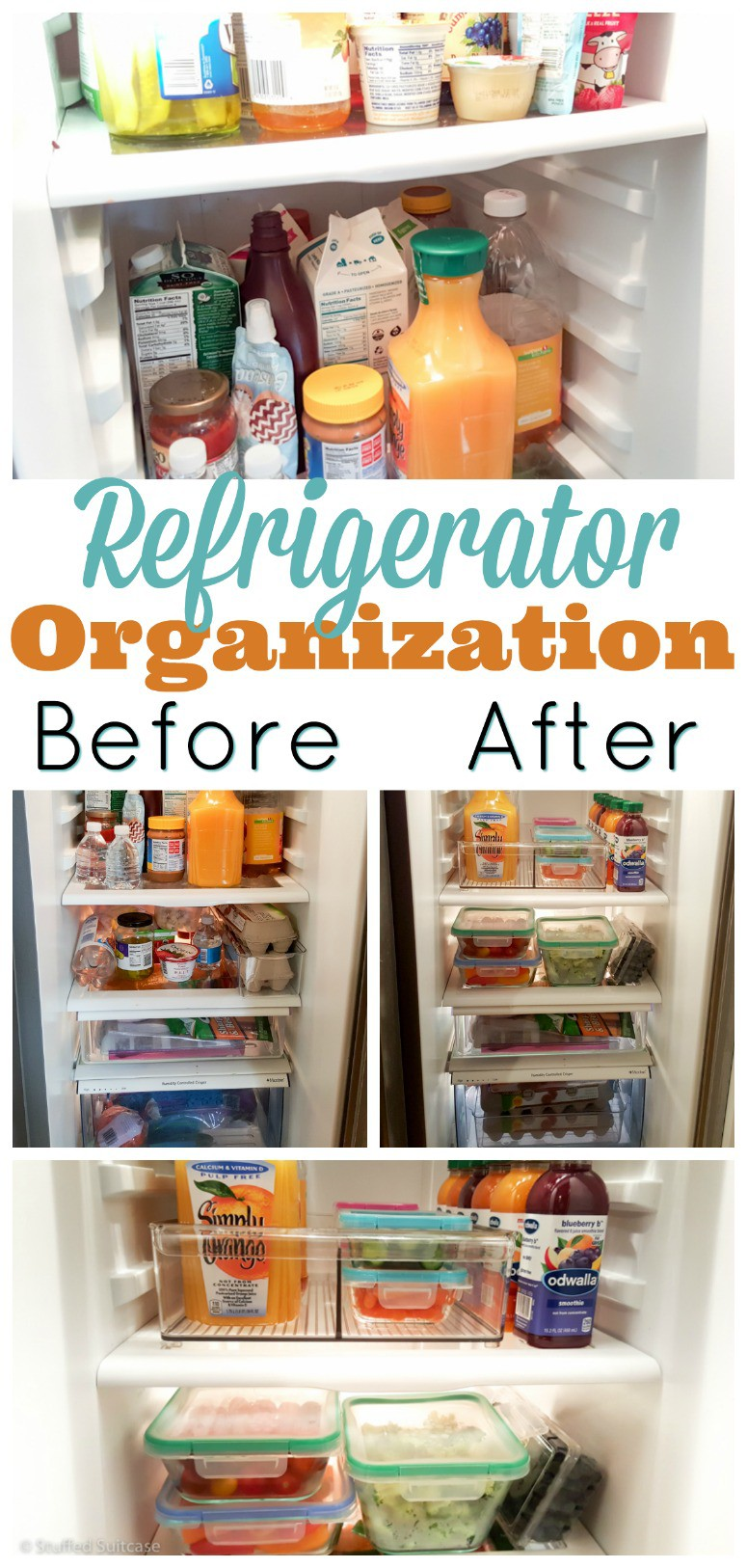 Our fridge was a chaotic mess of bottles and leftovers, with our produce spoiling due to being buried in the bottom drawers. My refrigerator organization project focused on healthy eating and moved the fruits and veggies up!