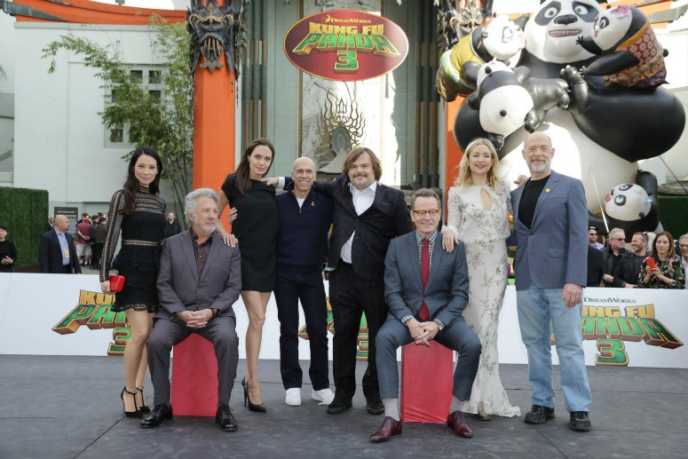 Lucy Liu, Dustin Hoffman Angelina Jolie, Jeffrey Katzenberg, CEO of DreamWorks Animation, Jack Black, Bryan Cranston, Kate Hudson and J.K. Simmons seen at DreamWorks Animation and Twentieth Century Fox World Premiere of 'Kung Fu Panda 3' at TCL Chinese Theater on Saturday, Jan. 16, 2016, in Hollywood, CA. (Photo by Eric Charbonneau/Invision for Twentieth Century Fox/AP Images)