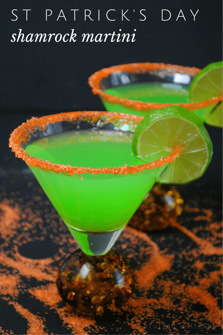 Share a bit of luck with these green shamrock martini cocktails. The perfect St Patrick's Day drinks recipe for your dinner party or get together.