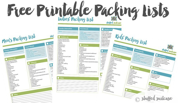 Packing List Template Printable  Stuffed Suitcase
